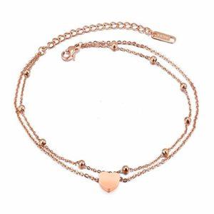 ZZXS Bracelet de Cheville Haute Qualité en Acier Inoxydable Classique Conception Numérique Dames Bracelet DeChevilleRose Or Couleur Bracelet DeCheville 60056