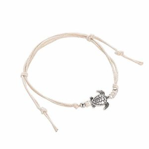 ZZXS Bracelet de Cheville Simple Pure Hand Made Turtle Cheville Bracelet Multicolor Corde tissée Bracelet de Cheville Single Layer Beach Barefoot Bijoux   4227
