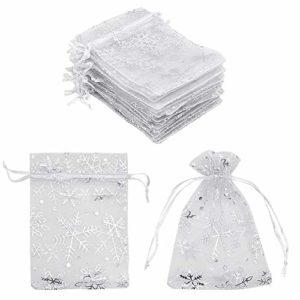 100 sacs cadeaux en organza avec flocon de neige blanc 9 x 12 cm, petits sacs à bijoux en maille blanche petits sacs à dragées pour Noël