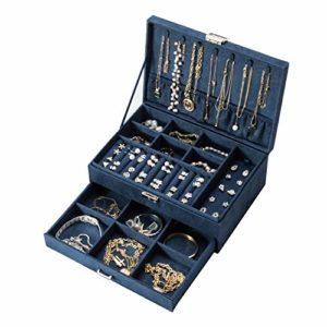 Amasava Boîte à Bijoux Velours avec tiroir, Boîte à Bijoux de Voyage, 27 x 19x 10cm, Retro Blue