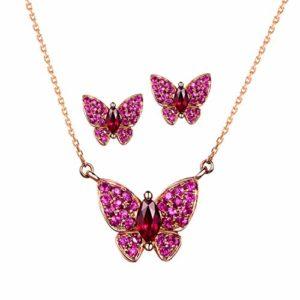 Caimeytie Collier et Boucles d'oreilles Papillon pour Femmes sertis de Cristaux de Rubis et de Fuchsia