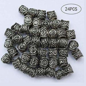 DHIMOG 24 Pcs Perles de Rune Viking Cheveux de Barbe Accessoires de DIY, Perles en Acier Inoxydable Runes pour Les Hommes Collier Pendentif Bijoux Bracelet