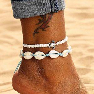 Edary Boho Bracelet de cheville à double coquillage avec pendentif tortue blanche Chaîne de pied de plage Bijoux Accessoires pour femmes et filles