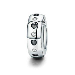 Featherwish cœurs Argent sterling 925Spacer Charm avec Oxyde de Zirconium Bracelet Pandora