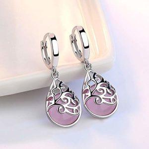 Gengg Boucles d'oreilles à tige en argent plaqué argent avec opale clair de lune et pierre tempérament