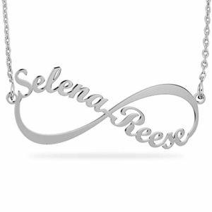 JOELLE JEWELRY Collier Prénom Infini personnalisé en Argent Sterling 925 Collier avec 2 Noms Cadeau Fête des Mères Femme Anniversaire Marriage