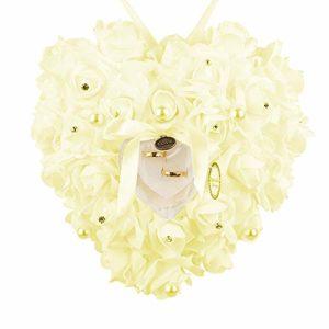 Lsgepavilion Coussin pour alliances de mariage, fausses perles, rose en forme de cœur, boîte de rangement pour bijoux beige