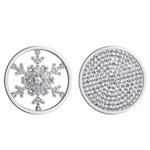 Meilanty 2coins 33mm Oxyde de Zirconium Pendentif Flocon de Neige Bijoux Coin en acier inoxydable