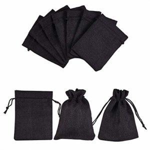 nbeads 30 pièces Sacs de Jute, Pochettes à Bijoux Noires favorisent Les Sacs avec Cordons pour Les Cadeaux de Mariage, Emballage de Cadeaux et Bricolage, 12x9cm