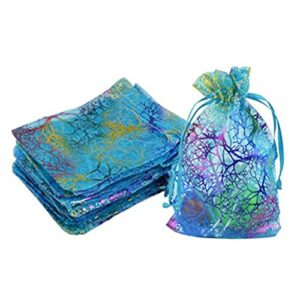 Organza Cordon Cadeau Sacs Vorcool dragées Sacs Bijoux Pochettes Bleu Lot de 100