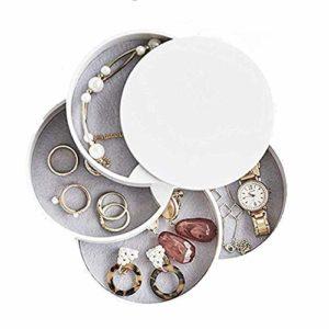 Petit Jewelry Stockage Cas pour bagues,Boîte à Bijoux 4 Niveaux,Rotation de 360 Degrés Boîte,Bijoux de Voyage de Rangement pour Bagues Boucles d'oreilles (Blanc)