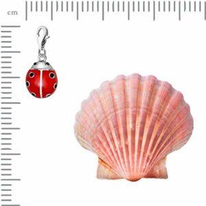 Quiges Charm Pendentif Perle avec Fermoir Femme Argent 925 Coccinelle Insecte 3D en Émail Rouge