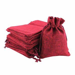 Rameng 50Pcs Jute Naturel Sacs Faveur Sac de Jute Bonbon Cadeau Bijoux Pochettes Sachets en Lin avec Cordon (rouge)