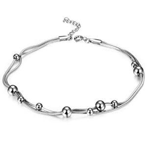 sailimue Acier Inoxydable Bracelet De Cheville pour Femme Fille Chaîne Cheville 23+3 cm