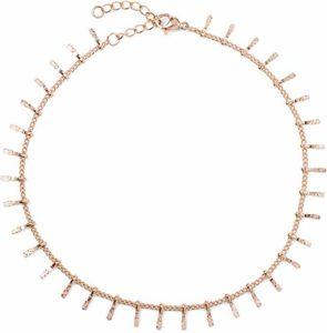 styleBREAKER Bracelet de Cheville pour Dames avec pendentifs Finement décorés, chaîne à maillons, Fermoir en Forme de Homard, chaîne, Bijoux 05080011, Couleur:Or Rose