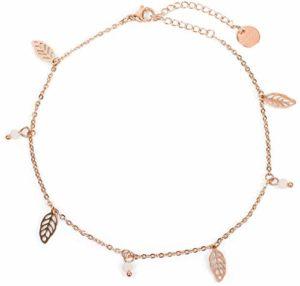 styleBREAKER Chaîne de cheville pour femmes avec pendentifs en forme de feuille et perles, en maille forçat, fermoir à mousqueton, bijou 05080007, couleur:Or Rosé-blanc