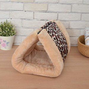 Szkn Sac de couchage chaud amovible pour chat chien, Imprimé léopard café 90 x 55 cm., UN
