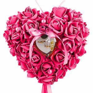 WFZ17 Coussin pour alliances en forme de cœur avec fausses perles Rose rose rouge
