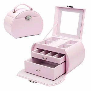 Yorbay Boîte à bijoux à 3 niveaux verrouillable avec miroir, Seelux Series pour colliers, montres, bagues, bracelets, boucles d'oreilles Rose