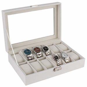 Zhicaikeji Boîte De Montre Ecrin Case 12 Affichage Boîte De Rangement Bracelet Blanc Plateau Faux Verrouillables pour Le Stockage Et L'affichage