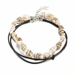 ZZXS Bracelet de Cheville Bracelet de Cheville Coquille Bijoux D'été Plage Pieds Nus Bracelet Cheville Cheville Femelle Cheville Accessoirescomme Photo