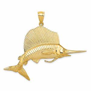 Breloque en or jaune 14 carats poli et satiné Poisson voilier