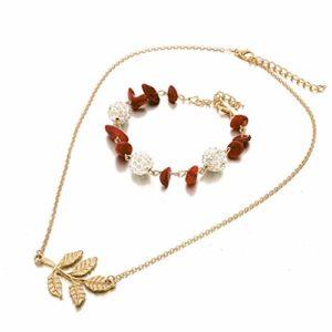 Collier Bracelet Ensemble Bohème Boule de Cristal Créative Feuille de Gravier Rouge (Or)