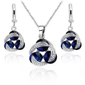 Ensemble collier et boucles d'oreille 18 carats plaqué or blanc avec cristaux autrichiens bleu imitation saphir en zircone