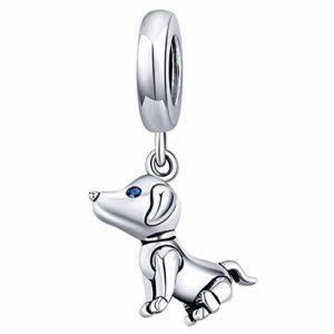 Glu Chien Robot Charms en 925 Argents,Breloques Européens et Pendant Convient à Bracelets Pandora&Chamilia