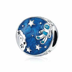 HMMJ Les Femmes S925 Charms en Argent Sterling Perles Astronaut Bricolage Main Pendentif Compatible avec Pandora & Bracelets européens Colliers