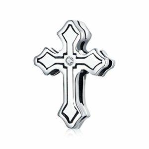 HMMJ Les Femmes S925 Charms en Argent Sterling Perles Croix Bricolage Main Pendentif Compatible avec Pandora Bracelets et Colliers européens