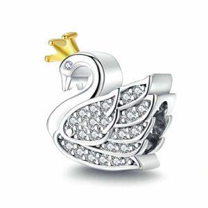 HMMJ Les Femmes S925 Charms en Argent Sterling Perles Princesse Cygne Bricolage Main Pendentif Compatible avec Pandora & Bracelets européens Colliers