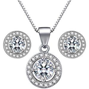 Lydreewam 925 bijoux en argent Sterling Set femmes boucles d'oreilles 18″collier pendentif avec 3 a 6mm zircon cadeau pour la noce