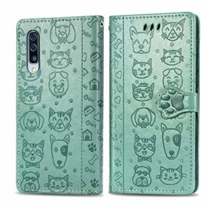 Miagon PU Cuir Portefeuille Coque pour Xiaomi Mi 10,Chat Chien Animal Gaufrage Flip Cover Étui à Rabat Magnétique Case Style Livre Protection Housse avec Support,Vert