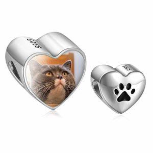 Personnalisés charm photo argent 925 coeur bracelet beads avec pied de chat compatible européen colliers cadeau pour femme