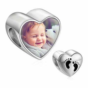 Personnalisés charm photo coeur argent 925 bracelet beads avec Baby foot compatible européen colliers cadeau pour femme