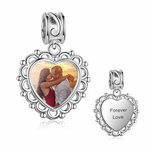 Personnalisés photo charm argent 925 coeur bracelet beads photo compatible européen colliers cadeau pour femme