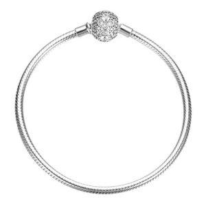 Soufeel Fleur Espaceur Bracelet pour Femme Chaîne Clips Serpent en Argent 925 Compatible Européen Charms 23cm/9.1in Cadeau de Noël