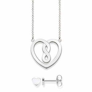 Thomas Sabo Collier coeur avec boucle d'oreille Argent Sterling 925 42 cm SET0557-001-21-L42v