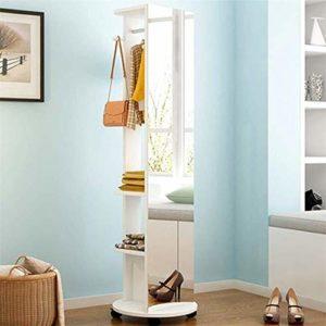 Tian Simple Plein Corps étage Miroir, Miroir Chambre Stockage Amovible Salon Multi-Fonction de Rotation Miroir de Montage (Color : Warm White)
