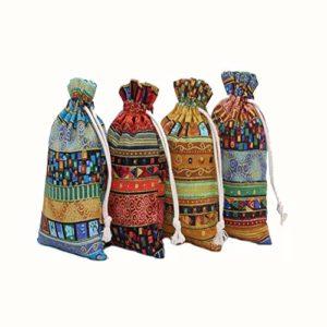 20pcs Lin style ethnique Jute Sac égyptien, léfèreté cadeaux Respirant Pouches avec cordon de serrage d'emballage de stockage Sacks pour mariage, fête, anniversaire, bricolage (13x18cm)