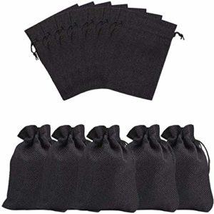 50Pcs lin noir Jute Sac, léfèreté cadeau Respirant Pouches avec cordon de serrage d'emballage de stockage Sacks pour mariage, fête, anniversaire, bricolage (14x10cm)