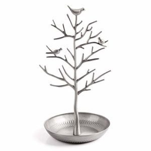 Alician Présentoir en acier inoxydable en forme d'arbre à bijoux pour clé, boucles d'oreilles, collier, fournitures ménagères, Argent pâle., as shown