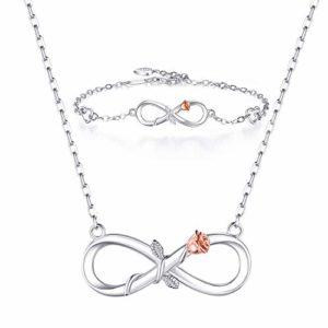 BlingGem Parures pour Femme Ensemble de Bijoux en Argent 925/1000 Sterling Infini Rose Fleur Ensemble de Collier Fille Cadeau pour Petite Amie