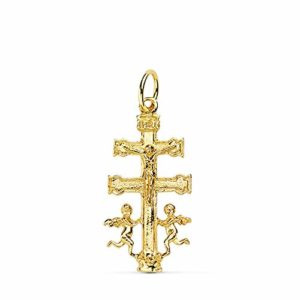Croix pendentif Caravaca or 18 carats Crucifix 24mm. Lisse Christ suspendu Angeles Side