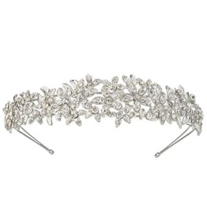 EVER FAITH® Cristal Autrichien Wedding Fleur Bandeau Ton d'argent Claire A10427-1