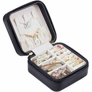 LIFIS Petite Boîte à Bijoux pour Voyage Mini Organisateur Stockage De Bijoux Portable en Cuir Cas De Stockage Présentoirs pour Bagues Boucles d'oreilles Collier Accessoires