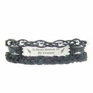 Miiras Bracelet Souvenir, Bijoux commémoratifs – I Carry You with Me, My Husband – Noir – Un Cadeau commémoratif Doux pour Les Femmes
