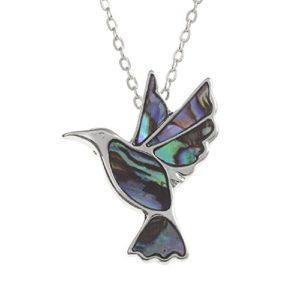 Mirabella BellaMira Collier pour femme avec pendentif colibri incrusté de coquille de paua naturelle aux reflets bleus/verts (26mm) – Chaîne en argent de 41cm