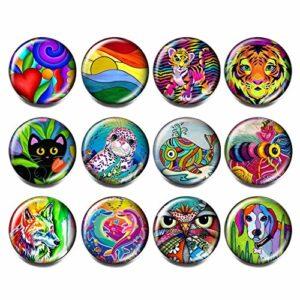 Soleebee Lot de 12 boutons pression ronds en aluminium et verre 18 mm Animaux multicolores.